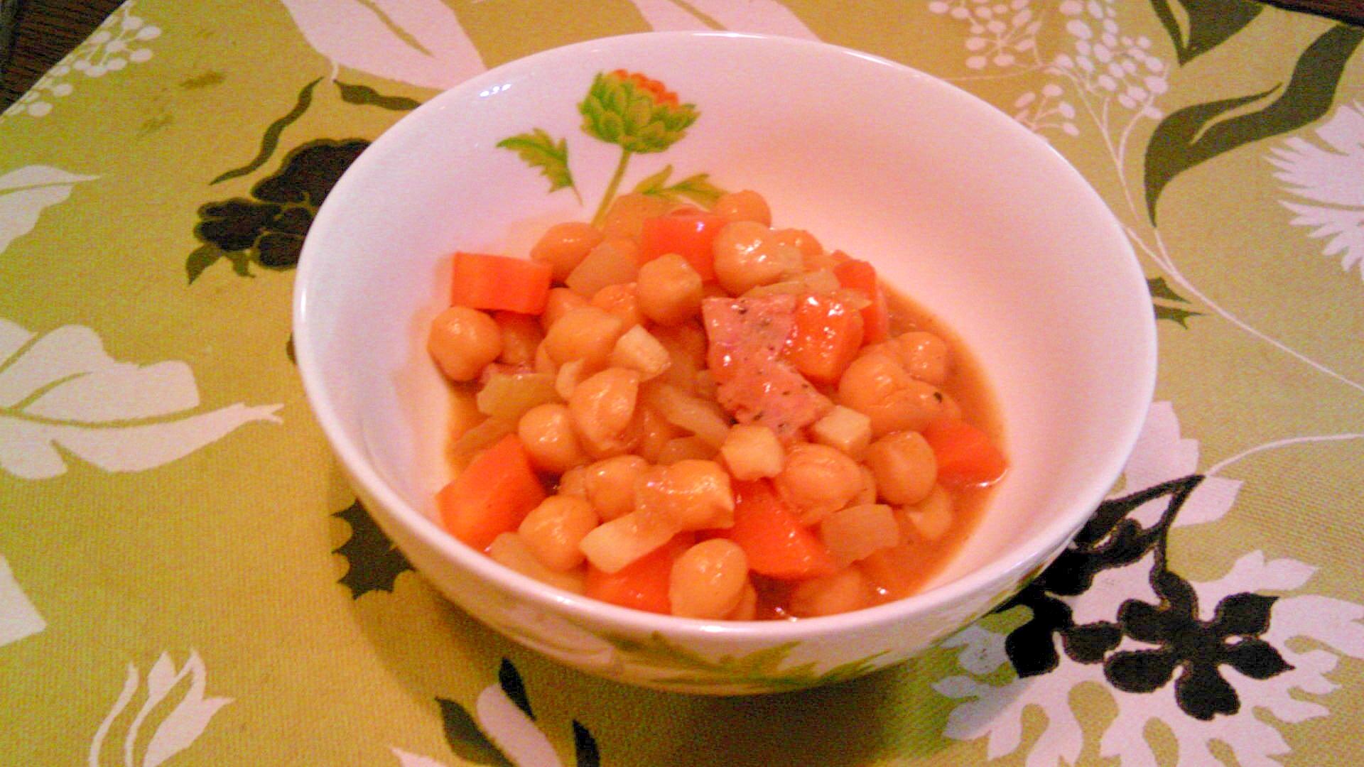 ひよこ豆・ポークウインナのクミン風味炒め