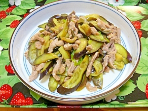 茄子と細切り豚ヒレ肉の炒め物