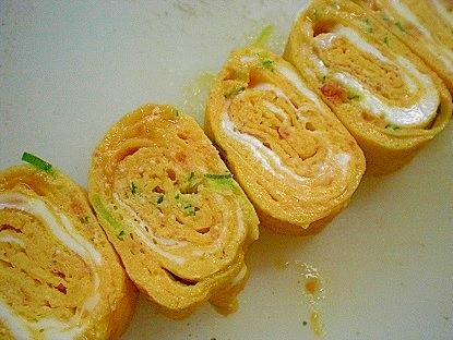 「ネギ明太&鮭フレーク入り卵焼き」   ♪♪