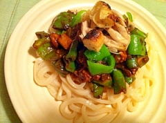 焼き野菜のピリ辛味噌うどん