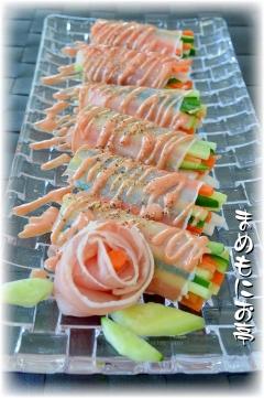 簡単オードブル♪カラフル千切り野菜の☆生ハム巻き