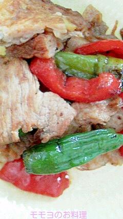 豚こま切れ肉とシシトウとパブリカのバルサミコ酢炒め