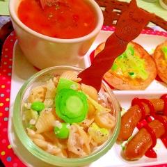 野菜たっぷり!蕎麦米入りズボラなマカロニサラダ