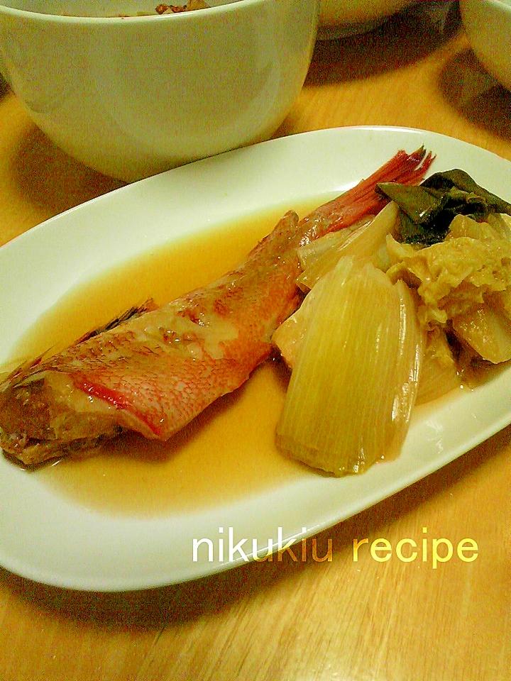 簡単おいしい!金目鯛とねぎと白菜の煮付け