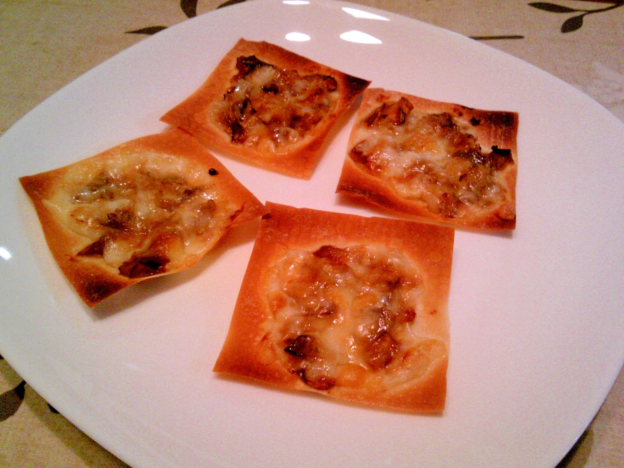 しゅうまいの皮の舞茸・中華味噌・チーズのっけ焼き