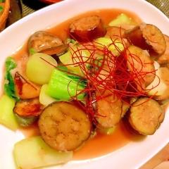 茄子と青梗菜のとろろあんかけ炒め