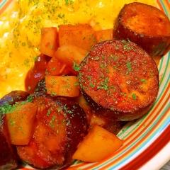 ごろごろ茄子とじゃがいものココナッツトマト炒め