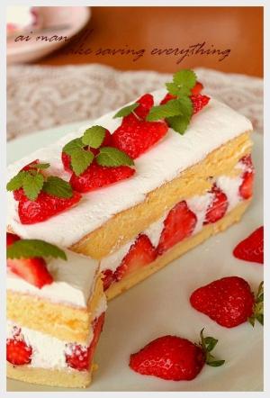 どこを切ってもイチゴ!フレジェ風ケーキ