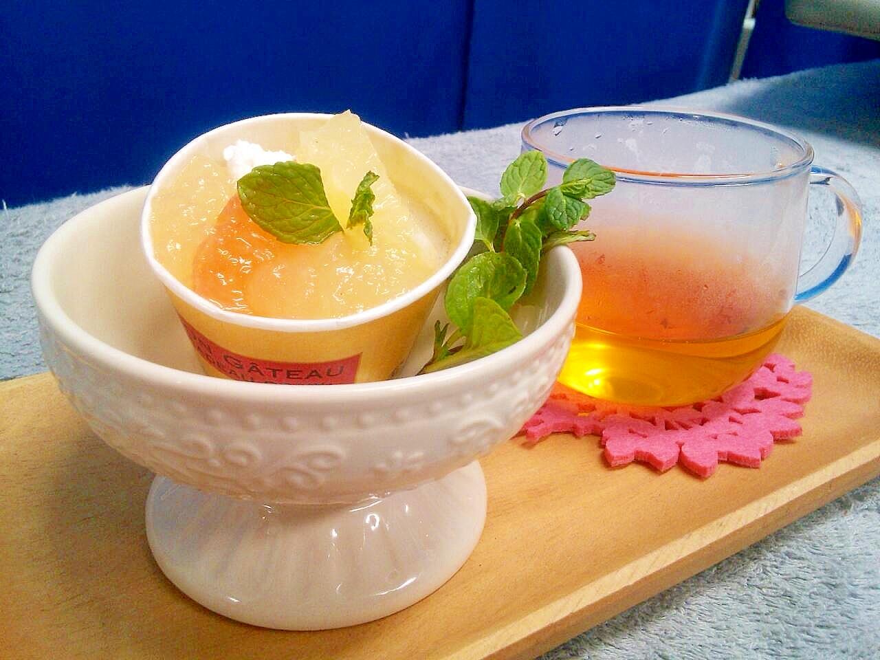 もっちり紅茶ババロア&グレープフルーツジュレ添え
