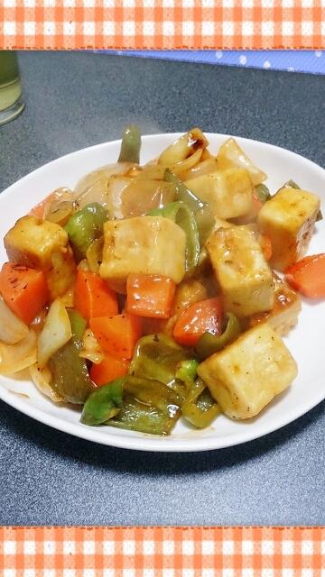 高野豆腐でヘルシーな酢豚風炒め物