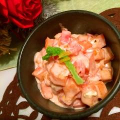 柿とトマトの柚子マヨクリームチーズサラダ