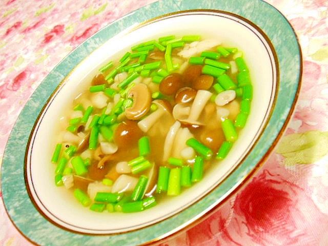 マッシュルームとシメジとにんにくの芽のスープ