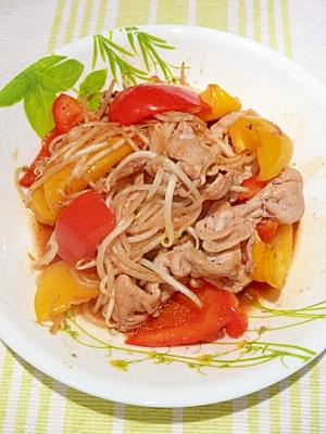 スタミナ源のたれで「パプリカともやしの肉野菜炒め」