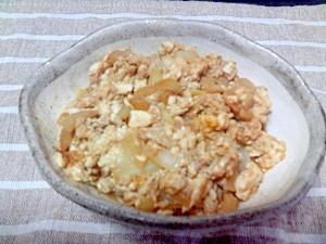 アツアツご飯にのせて卵豆腐炒め