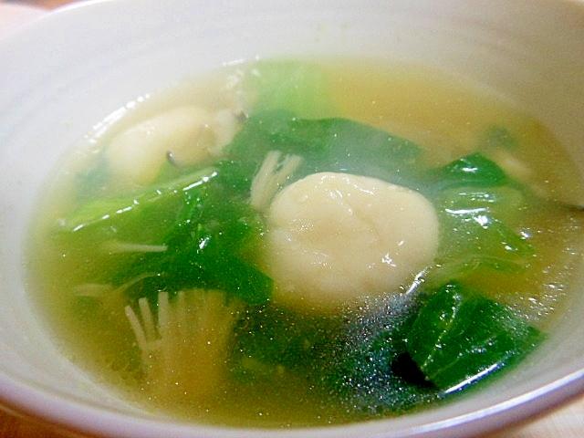 塩麹きのこdeレタスと豆腐白玉団子スープ