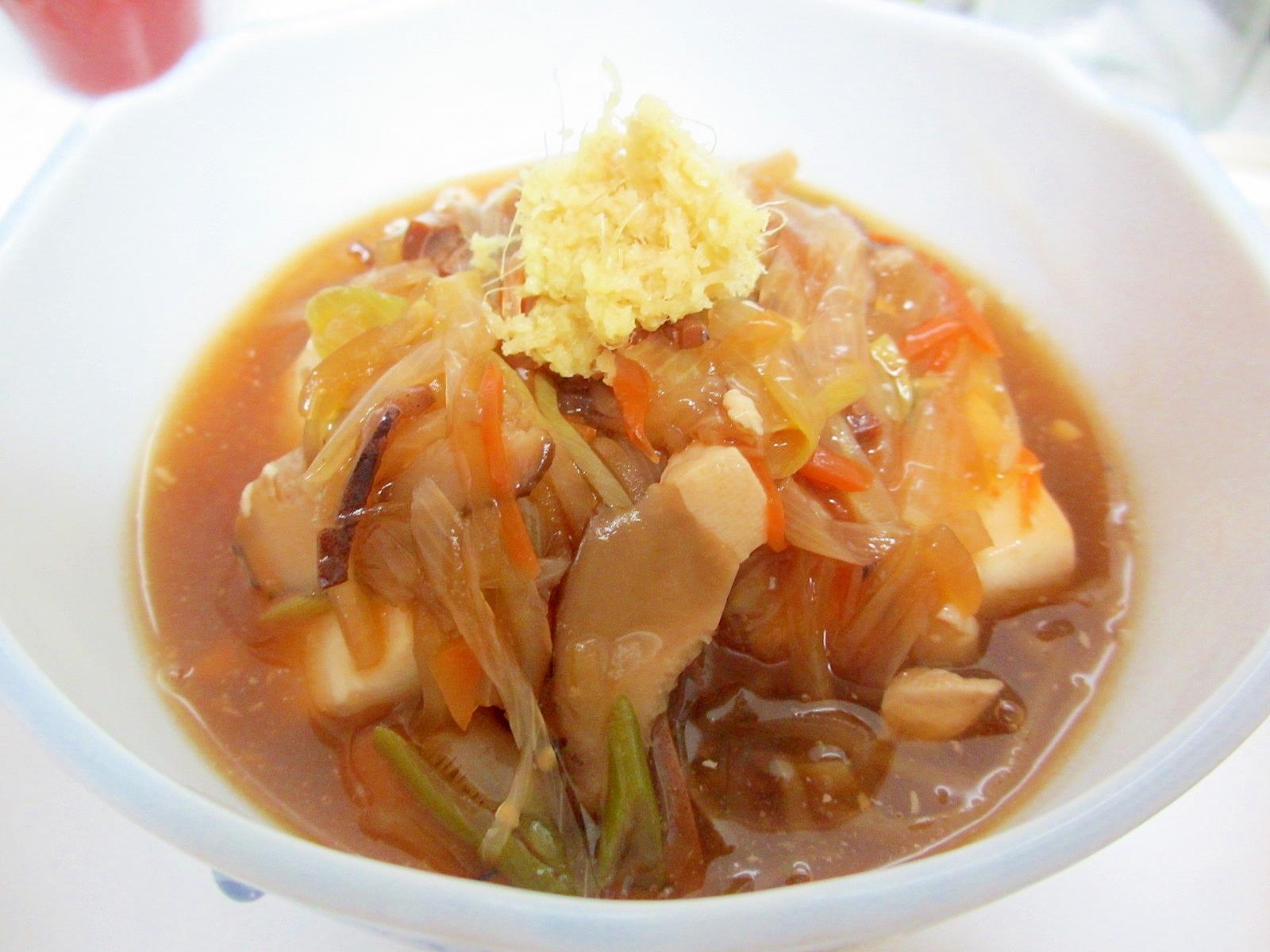 スルメ醤油で豆腐の野菜あんかけ