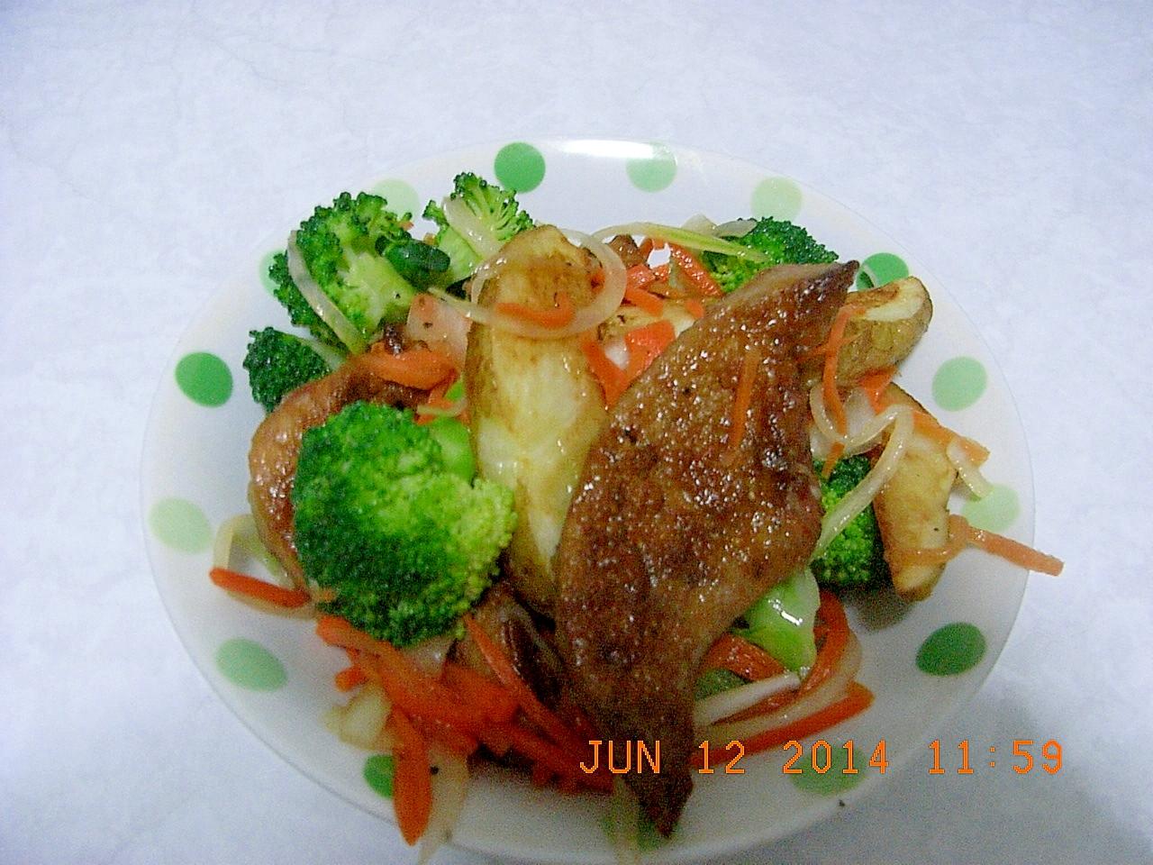 ボリューム満点☆豚レバーと野菜のサラダ