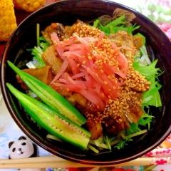 焼き茄子と水菜のさっぱり梅つゆ丼