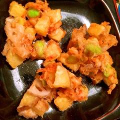 釜揚げ桜海老と根菜と茶豆の海老マヨかき揚げ