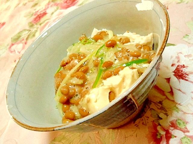 つるっと豆腐&納豆と胡瓜とうずらの卵のどんぶり
