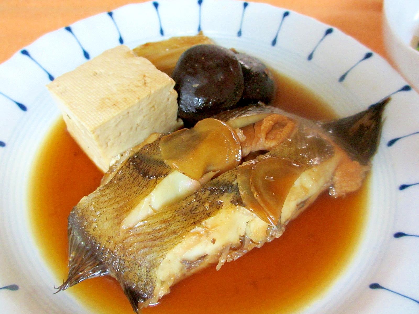 カレイと豆腐と椎茸の煮付け