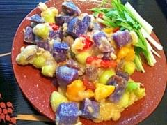 紫じゃがいもと枝豆のほんのりチーズ風味かき揚げ