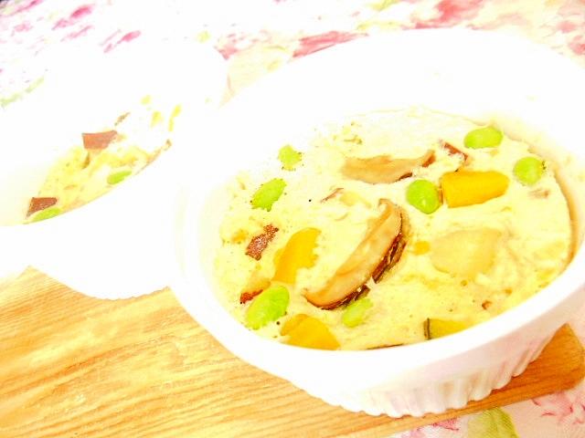 木綿豆腐deどんこ&南瓜の茶碗蒸し風