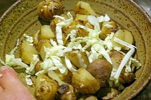 ゆで菊芋と白菜の醤油和え