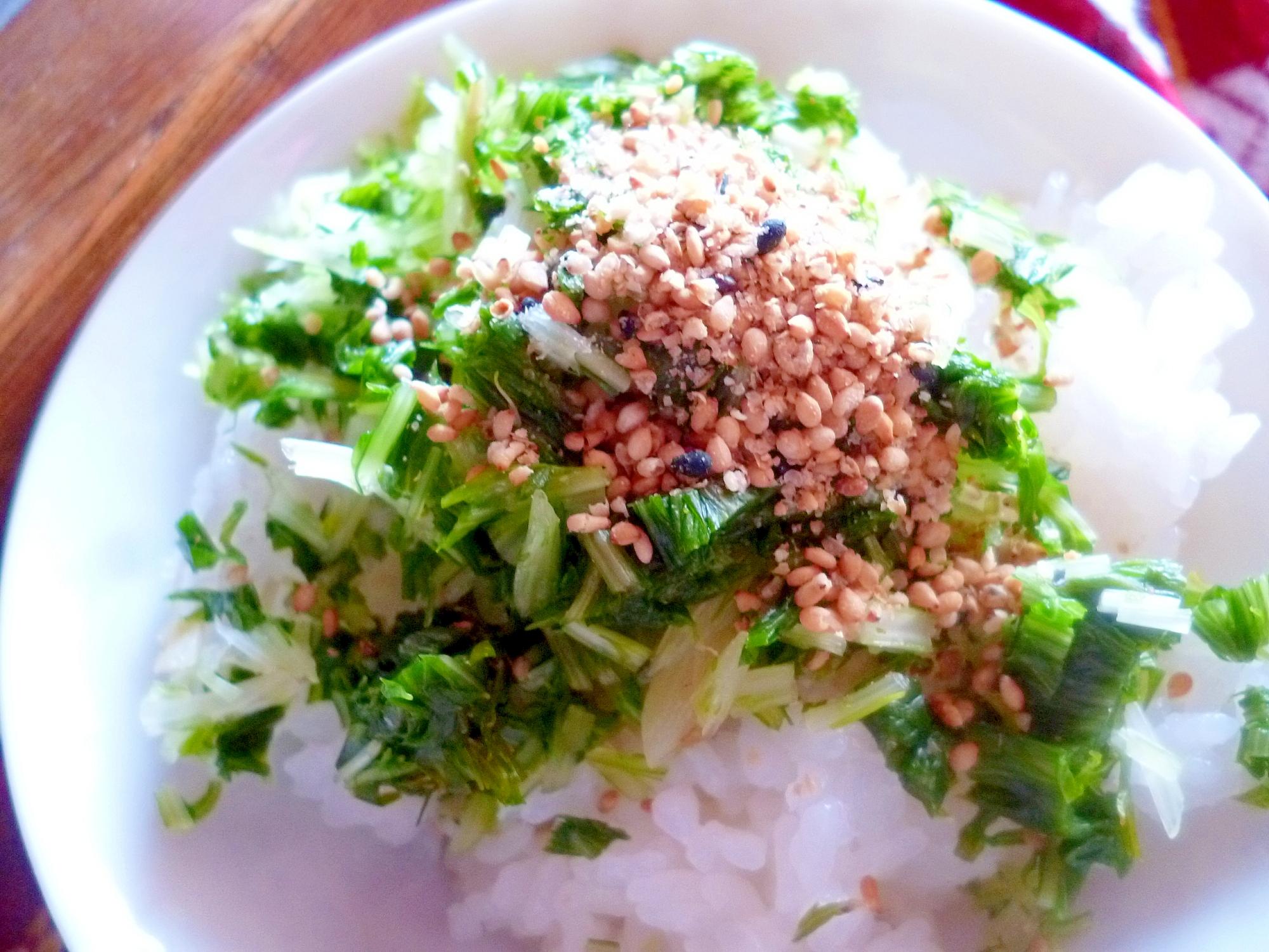 水菜の塩漬け飯*水菜の一夜干し