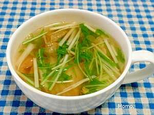 水菜とキムチの時短スープ