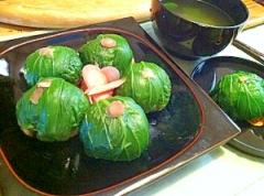 チンゲン菜の中華風手まり寿司