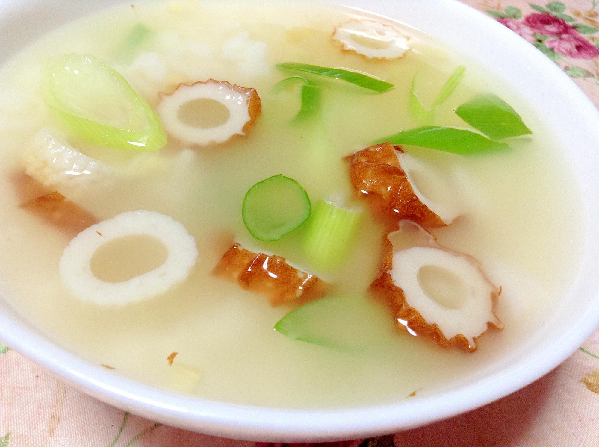 お夜食に♪刻み生姜と竹輪と葱のお粥さん