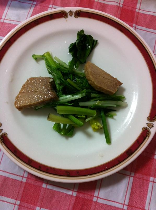 ★豚かたまり肉とほうれん草の炒め物★