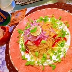 彩り野菜のすだちオイルパスタ