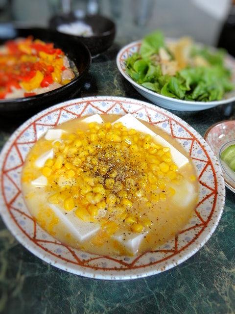 コーン缶と豆腐の卵とじ