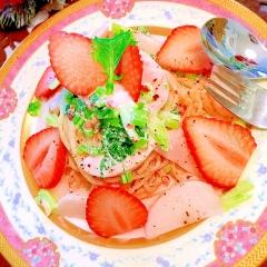 春の装い 苺と蕪の冷製クリームパスタ