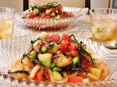 彩り夏野菜の冷製☆トマトうどん