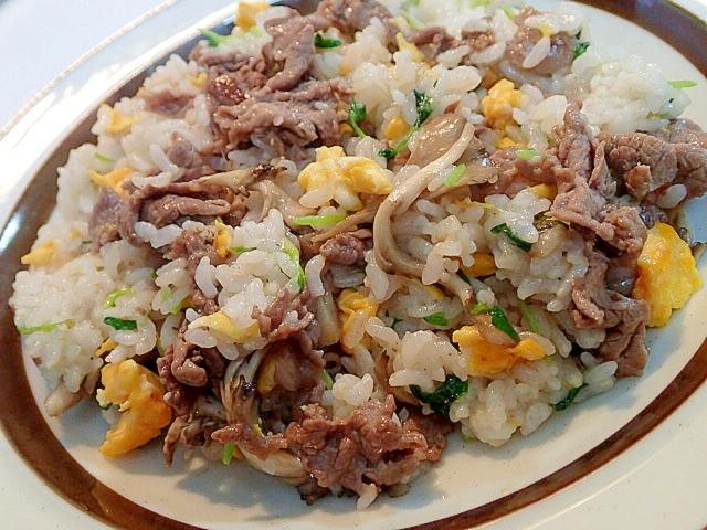 ガラスープで 牛肉と舞茸と豆苗のチャーハン