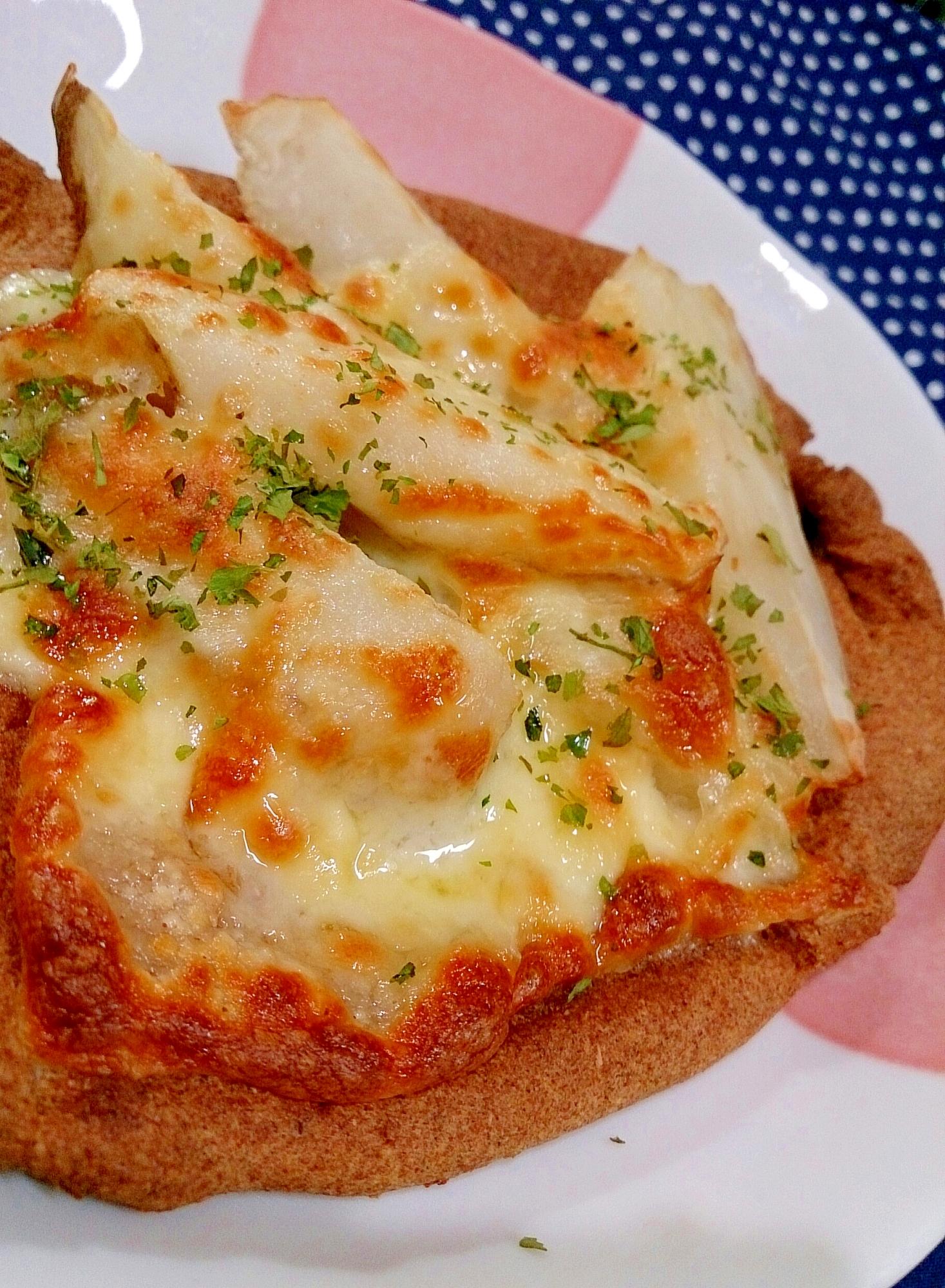 【糖質制限】発酵要らずでカリカリ♪菊芋×チーズピザ