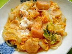 白菜と麩の卵とじ