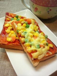 ミックスベジタブルで簡単トースト☆ピザ風で美味い☆