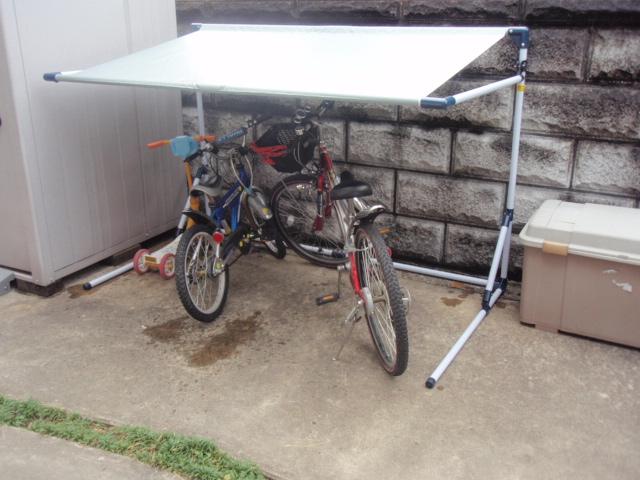 自転車屋 自転車屋根自作 : サイクルガレージ 雨除け DIY