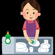食器洗いをしているお母さんのイラスト