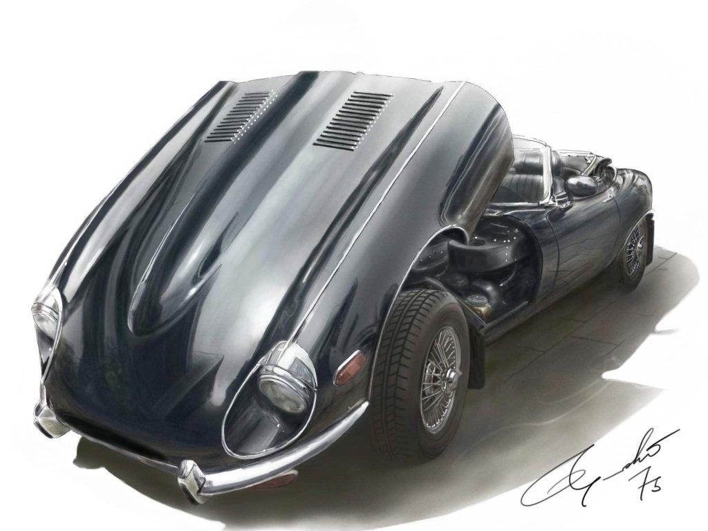 jaguar e type illustration car illustration. Black Bedroom Furniture Sets. Home Design Ideas