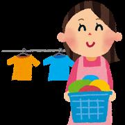 洗濯のイラスト「洗濯カゴ・お母さん.png