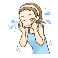 顔を水でバシャバシャ洗っている女性のイラスト
