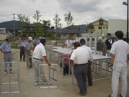 折りたたみ式(組み立て式)アルミ製ステージ 岡山県総社市 組み立て