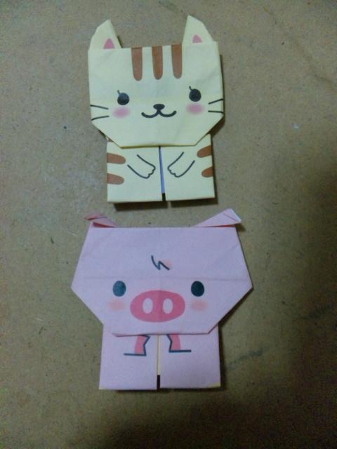 すべての折り紙 折り紙 ネコ : 折り紙】ネコとブタ   ゆる ...