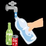 ペットボトル・缶・瓶を洗っているイラスト(ゴミ出し)