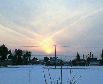 夕日が二つに見えます